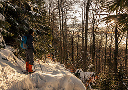 Man hiking with snowshoes in the Black forest, Mount Kandel, Baden-Württemberg, Germany