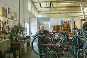 """CAPANNORI, Tuscany,  cycle shop at the Daccapo warehouse, Agostino della Bidia Daccapo means """"from skratch"""" """" from the beginning"""""""