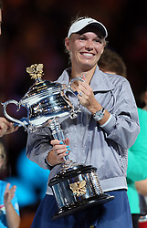 MELBOURNE, Jan. 27, 2018  Denmark's Caroline Wozniacki poses with her trophy during the awarding ceremony of the women's singles final match against Romania's Simona Halep at Australian Open 2018 in Melbourne, Australia, Jan. 27, 2018. (Credit Image: © Li Peng/Xinhua via ZUMA Wire)