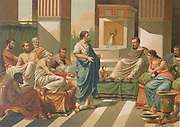 Banquet given by Periander [Periandro] to the seven wise men of Greece (Periander, Thales, Solon, Cleobulus, Chilon, Bias, and Pittacus) philosophers, statesmen, and law-givers who were renowned for their wisdom From La ciencia y sus hombres : vidas de los sabios ilustres desde la antigüedad hasta el siglo XIX T. 1 [Science and it's people Vol 1] by Luis Figuier ; traducción de la tercera edición francesa por Pelegrin Casabó y Pagés ; ilustrada por Armet, Gomez, Martí y Alsina, Planella, Puiggarí, Serra,  Printed in Barcelona in 1879