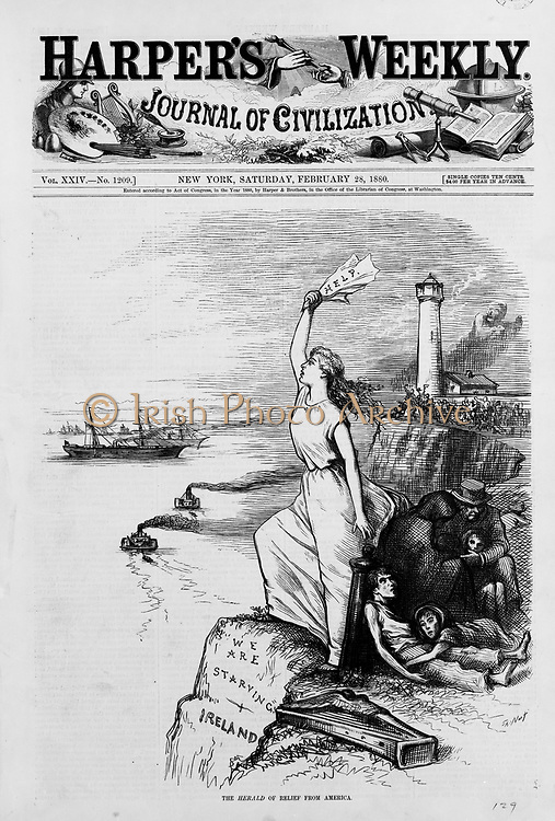 Famine in Ireland, 1880: Front page of 'Harper's Weekly' 28 February 1880, showing Ireland standing on the cliffs signalling for help from America, while a starving family huddles behind her.