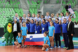 Players of Slovenia at medal ceremony after the volleyball match between National team of Turkey and Slovenia in Gold Medal game of Womens U23 World Championship 2017, on September 17, 2017 in SRC Stozice, Ljubljana, Slovenia. Photo by Morgan Kristan / Sportida