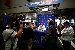Parnell Motley #11 of the Oklahoma Sooners speaks with the media at Media Day on Thursday, Dec. 26, in Atlanta. LSU will face Oklahoma in the 2019 College Football Playoff Semifinal at the Chick-fil-A Peach Bowl. (Jason Parkhurst via Abell Images for the Chick-fil-A Peach Bowl)