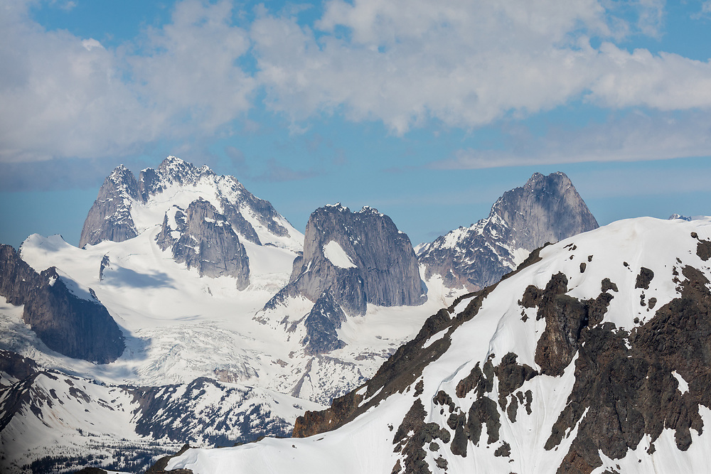 The imposing south and east ascpects of The Howser Towers, Pigeon, Snowpatch and Bugaboo Spire