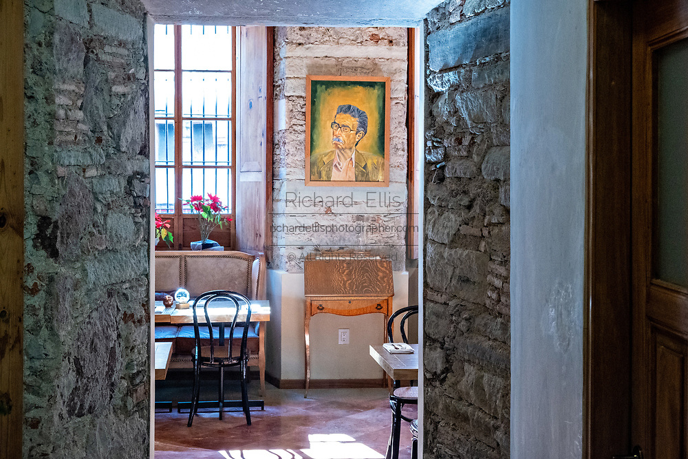 A portrait of Diego Rivera on the wall of a cafe near his house museum in the historic center of Guanajuato City, Guanajuato, Mexico.