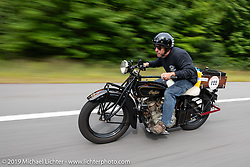 James Maloney riding his 1928 Indian Scout in the Motorcycle Cannonball coast to coast vintage run. Stage-1 (145-miles) from Portland, Maine to Keene, NH. Saturday September 8, 2018. Photography ©2018 Michael Lichter.