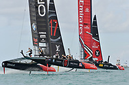 challengers Oracle Team USA skippered by Jimmy Spithill vs Defenders Emirates Team New Zealand skippered by Peter Burling during the 35th America's Cup 2017, Day 3, on June 24, 2017 in Hamilton, Bermuda - Photo Christophe Favreau / ProSportsImages / DPPI
