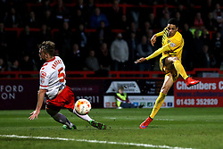 Daniel Leadbitter of Bristol Rovers shoots past Fraser Franks of Stevenage but wide of the goal - Mandatory by-line: Robbie Stephenson/JMP - 19/04/2016 - FOOTBALL - Lamex Stadium - Stevenage, England - Stevenage v Bristol Rovers - Sky Bet League Two
