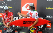Gold Coast, Australia - March 5: Taj and Jordy on the podium during the final of the Quiksilver Pro Gold Coast 2010 presented by Land Rover at Snapper Rocks on the Gold Coast, March 5, 2010 Photo by Matt Roberts/MATTRimages.com.au | Image ID: MTR_0747.jpg