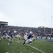 NEW HAVEN, CONNECTICUT - NOVEMBER 18: Malcolm Dixon #1 of Yale heads to the end zone for a touchdown after a 19 yd fumble recovery during the Yale V Harvard, Ivy League Football match at the Yale Bowl. Yale won the game 24-3 to win their first outright league title since 1980. The game was the 134th meeting between Harvard and Yale, a historic rivalry that dates back to 1875. New Haven, Connecticut. 18th November 2017. (Photo by Tim Clayton/Corbis via Getty Images)