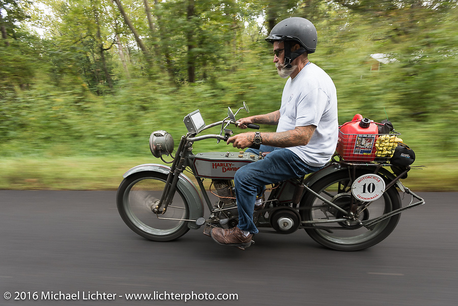 Bill Page of Kansas riding his single-cylinder 1915 Harley-Davidson class-2 motorcyle during the Motorcycle Cannonball Race of the Century. Stage-6 from Cape Girardeau, MO to Springfield, MO. USA. Thursday September 15, 2016. Photography ©2016 Michael Lichter.