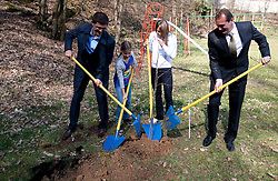 Matjaz Rakovec of Zavarovalnica Triglav, Sara Isakovic, Slovenian swimmer and Metod Ropret, Mayor of Brezovica  when sponsor Zavarovalnica Triglav d.d. decided to rebuild children playground, on March 22, 2012, in Notranje Gorice, Slovenia. (Photo by Vid Ponikvar / Sportida.com)