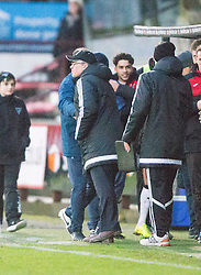 Dunfermline's manager Allan Johnston and Ayr United's manager Ian McCall at the end. <br /> Dunfermline 3 v 2 Ayr United, Scottish League One played at East End Park, 13/2/2016.