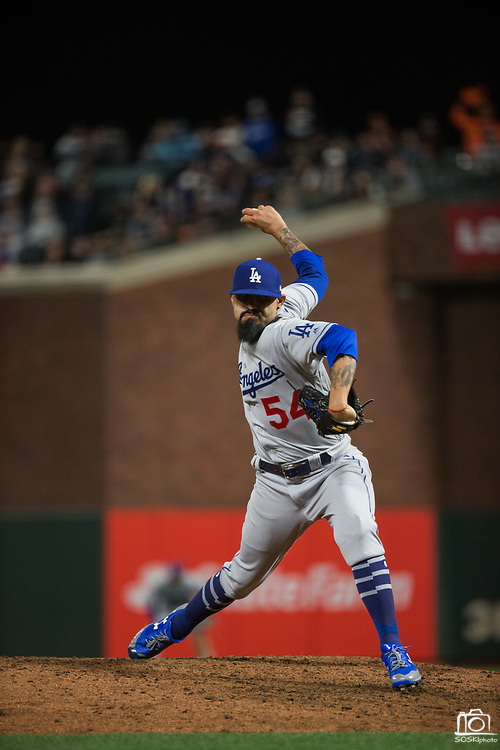 Los Angeles Dodgers relief pitcher Sergio Romo (54) pitches at AT&T Park in San Francisco, California, on April 24, 2017. (Stan Olszewski/Special to S.F. Examiner)