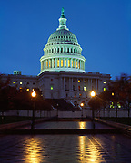 United States Capitol Building at dusk, Washington, District of Columbia.