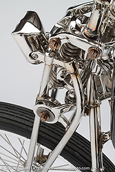A hand made, stainless steel knucklehead chopper built by Christian Newman in Buffalo, NY. Photographed by Michael Lichter in Sturgis, SD on August 3 2017. ©2017 Michael Lichter.