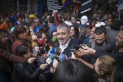 May 1, 2019 - Barcelona, Catalonia, Spain - Jaume Collboni, candidate for mayor of Barcelona for the Socialist Party is seen speaking at a press conference during the International Worker's Day..The two major Spanish trade unions CC.OO and UGT, accompanied by a large number of parties and social organizations have celebrated the May Day, International Workers Day with a demonstration in the streets of Barcelona under the slogan ''First people. (Credit Image: © Paco Freire/SOPA Images via ZUMA Wire)