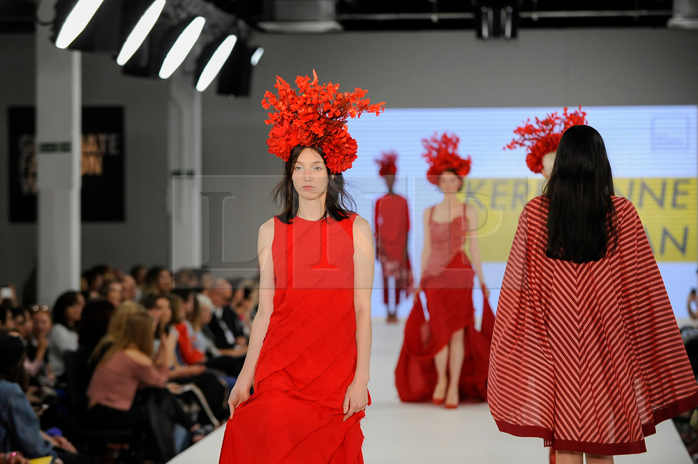 © Licensed to London News Pictures. 05/06/2017. London, UK. A model presents a look by Kerryanne Cervan from The Arts University Bournemouth on the second day of Graduate Fashion Week taking place at the Old Truman Brewery in East London.  The event showcases the graduation show of up and coming fashion designers from UK and international universities. Photo credit : Stephen Chung/LNP