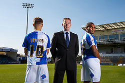 Bluepoppy Sponsor photo with Matty Taylor and Jermaine Easter of Bristol Rovers - Mandatory byline: Rogan Thomson/JMP - 07966 386802 - 07/09/2015 - FOOTBALL - Memorial Stadium - Bristol, England - Bristol Rovers Team Photos.