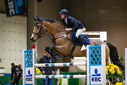 Symons Thomas, BEL, Esteban van Waerde<br /> Klasse Zwaar<br /> Nationaal Indoor Kampioenschap Pony's LRV <br /> Oud Heverlee 2019<br /> © Hippo Foto - Dirk Caremans<br /> 09/03/2019