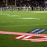 The football field is painted in remembrance of 9/11, during an NCAA football game between the Boston College Eagles and the UCF Knights at Bright House Networks Stadium on Saturday, September 10, 2011 in Orlando, Florida. (AP Photo/Alex Menendez)