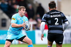 Jack Singleton of Worcester Warriors takes on George McGuigan of Newcastle Falcons - Mandatory by-line: Robbie Stephenson/JMP - 03/03/2019 - RUGBY - Kingston Park - Newcastle upon Tyne, England - Newcastle Falcons v Worcester Warriors - Gallagher Premiership Rugby