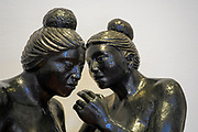 close up details of a bronze Sculpture by Mario Aguirre Roa at the Ralli Museum in Caesarea, Israel.