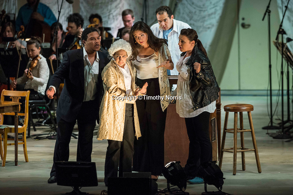 """Aubrey Allicock (bass-baritone) as """"Tonic"""", Jennifer Zetlan (soprano) as """"Mozart"""", Peabody Southwell (mezzo-soprano) as """"Subdominant"""", Dominic Armstrong (tenor) as """"Bartender"""" and Rachel Calloway (mezzo-soprano) as """"Dominant"""" in the world premiere of Steven Stucky and Jeremy Denk's The Classical Style: An Opera (of Sorts) at the 68th Ojai Music Festival at Libbey Bowl on June 13, 2014 in Ojai, California."""