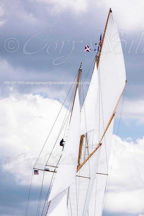 Eleonora sailing in the Panerai Herreshoff Classic Yacht Regatta.