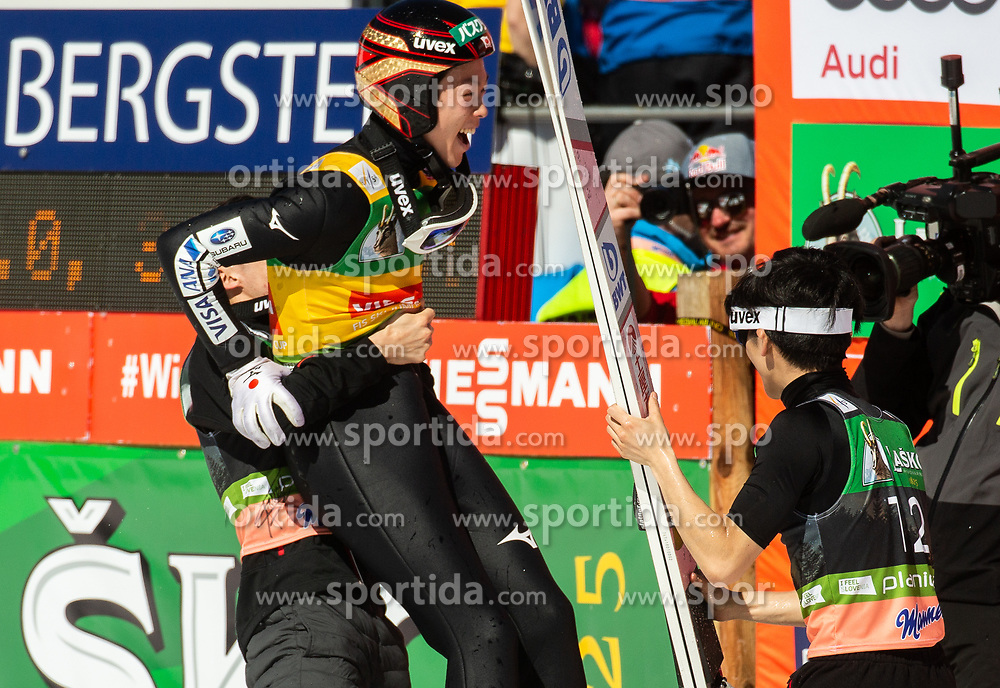 Winner Ryoyu Kobayashi (JPN) celebrates with his brother Junshiro Kobayashi (JPN) and Yukiya Sato (JPN) after the Ski Flying Hill Individual Competition at Day 4 of FIS Ski Jumping World Cup Final 2019, on March 24, 2019 in Planica, Slovenia. Photo by Vid Ponikvar / Sportida