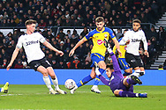 Derby County goalkeeper Kelle Roos (21) saves during the The FA Cup 3rd round match between Derby County and Southampton at the Pride Park, Derby, England on 5 January 2019.