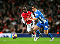 Photo: Tom Dulat/Sportsbeat Images.<br /> <br /> Arsenal v Wigan Athletic. The FA Barclays Premiership. 24/11/2007.<br /> <br /> Jason Koumas of Wigan Athletic and Lassana Diarra of Arsenal with the ball.