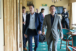© Licensed to London News Pictures . 01/05/2015 . Manchester , UK . Nick Clegg and John Leech arrive at a Liberal Democrat party rally at Chorlton-cum-Hardy Golf Club . Liberal Democrat party leader Nick Clegg visits the constituency of Manchester Withington to deliver a speech on the NHS and campaign with local candidate John Leech . Photo credit : Joel Goodman/LNP