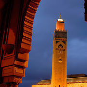 The Hassan II Mosque in Casablanca. The mosque is the 2nd largest in the world behind Mecca and the only mosque in Morocco open to non Muslims. The minaret is 210 meters tall, the tallest in the world.