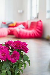 Interior of livingroom with roses