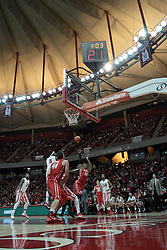 15 February 2014:  Tyshon Pickett takes an off balanced shot at the hoop during an NCAA Missouri Valley Conference (MVC) mens basketball game between the Bradley Braves and the Illinois State Redbirds  in Redbird Arena, Normal IL.