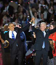 "File photo dated November 6, 2012 of U.S. President Barack Obama and Vice President Joe Biden wave on stage after being re-elected as president of the United States during election night watch party at McCormick Place in Chicago, Illinois, USA. Former President Barack Obama endorsed Joe Biden, his two-term vice president, on Tuesday morning in the race for the White House. ""Choosing Joe to be my vice president was one of the best decisions I ever made, and he became a close friend. And I believe Joe has all the qualities we need in a president right now,"" Obama said in a video posted to Twitter. Photo by Olivier Douliery/ABACAPRESS.COM"