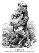 In the Grip. Portrait of any Austrian general on the Eastern Front. (an Austrian general is being crushed in a Russian bear hug during WW1)