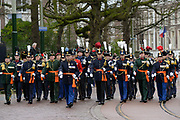 In Den Haag, op Plein 1813 vindt een vaandelgroet plaats van de Koninklijke Landmacht aan Koning Willem-Alexander. De vaandelgroet is tevens de aftrap van het 200-jarig jubileum van de Koninklijke Landmacht. <br /> <br /> In The Hague, on Plein 1813 a banner greeting takes place from the Royal Army of King Willem-Alexander. The standard greeting is also the kickoff of the 200th anniversary of the Royal Army.<br /> <br /> Op de foto / On the Photo:  Militairen tijdens de viering / Soldiers during the celebration