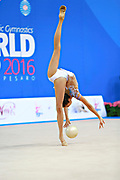 """Ayupova Ekaterina during ball routine at the International Tournament of rhythmic gymnastics """"Città di Pesaro"""", 02 April, 2016. Ekaterina is a Russian individualistic gymnast, born on August 31, 2002 in St. Petersburg.<br /> This tournament dedicated to the youngest athletes is at the same time of the World Cup."""