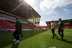 Celtic players arrive during the Ladbrokes Scottish Premiership match at Pittodrie Stadium, Aberdeen.