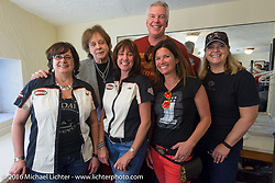 Harley-Davidson employees with Eddie Money just before his performance at the Harley-Davidson Grand Opening Party at the Daytona Beach Bandshell during the Daytona Bike Week 75th Anniversary event. FL, USA. Monday March 7, 2016.  Photography ©2016 Michael Lichter.