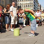 Street dancer in Vienna collecting money