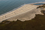 Aerial view of beach restoration efforts on the south end of Folly Beach, South Carolina known locally as the Edge of America.