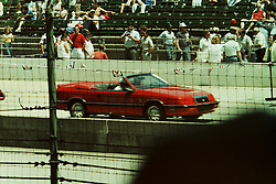 Indianapolis Time Trials, May 1987<br /> <br /> Pace Car driver - Carroll Shelby.<br /> <br /> A scan from an old photo or slide from the collection of Alan and Becky Look dated 1987 and 1988.