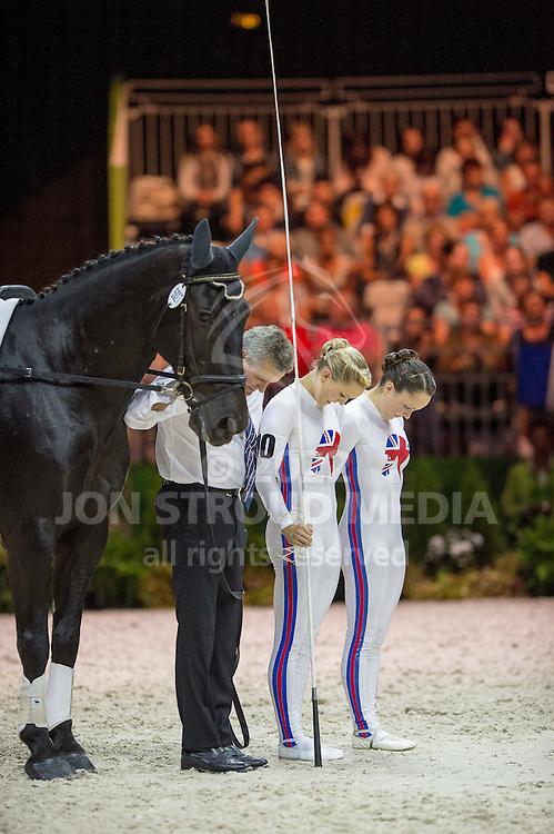 Joanne Eccles, Hannah Eccles (GBR), WH Bentley, John Eccles - Individuals Women Compulsory Vaulting - Alltech FEI World Equestrian Games™ 2014 - Normandy, France.<br /> © Hippo Foto Team - Jon Stroud<br /> 02/09/2014