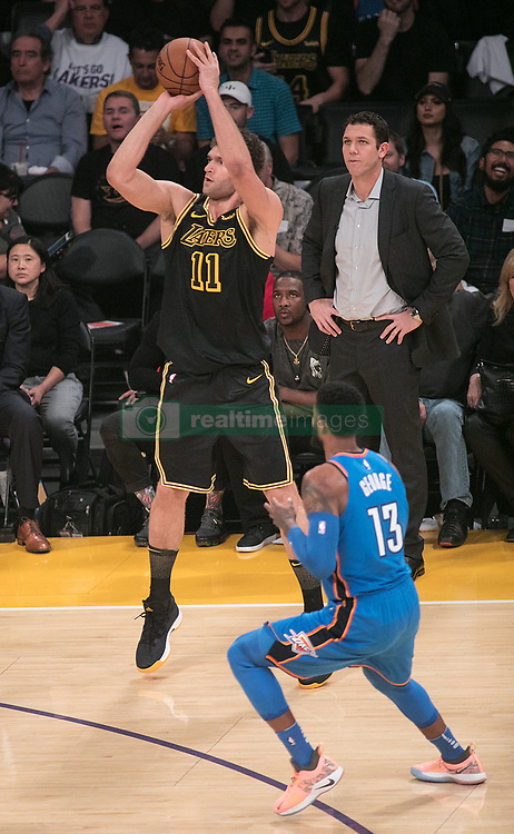 February 8, 2018 - Los Angeles, California, U.S - Brook Lopez #11 of the Los Angeles Lakers takes a three point shot during their NBA game with the Oklahoma Thunder on Thursday February 8, 2018 at the Staples Center in Los Angeles, California. Lakers vs. Thunder. (Credit Image: © Prensa Internacional via ZUMA Wire)
