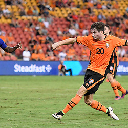 BRISBANE, AUSTRALIA - JANUARY 31: Shannon Brady of the Roar shoots on goal during the second qualifying round of the Asian Champions League match between the Brisbane Roar and Global FC at Suncorp Stadium on January 31, 2017 in Brisbane, Australia. (Photo by Patrick Kearney/Brisbane Roar)