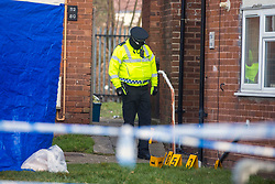 © Licensed to London News Pictures. 14/02/2019. Thurcroft UK. Police at the scene on Cedric Crescent in Thurcroft near Rotherham this morning where a woman in her 20's has died after suffering a Cardiac Arrest. A 39 year old woman has been arrested in connection to her death & is currently in police custody. Emergency services where called to a property on Cedric Crescent just before 20:50 pm after reports of an altercation between two women. Photo credit: Andrew McCaren/LNP