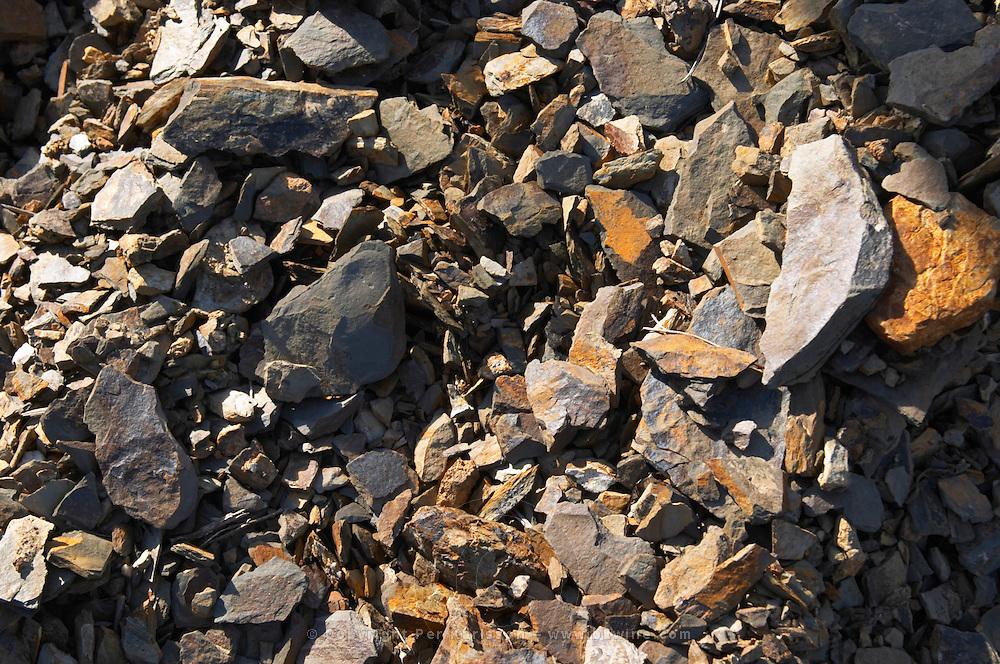 Domaine Mas Gabinele. Faugeres. Languedoc. Terroir soil. In the vineyard. Schist. France. Europe. Schist slate soil.